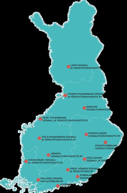 Kartta sosiaaliturvayhdistykset Suomessa